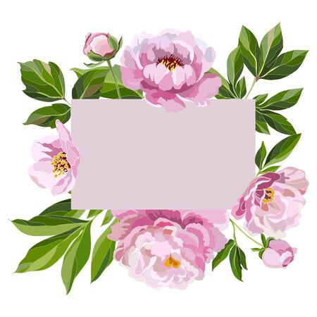 Background with leaves, buds and flowers of pink peonies on a white background. Greeting card template with decorative floral elements for design. Vector illustration.