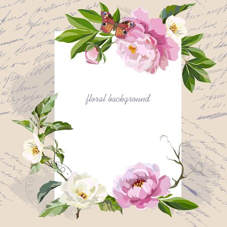 Vintage card with peonies and jasmine branch. Greeting card template with flowers. Vector illustration.