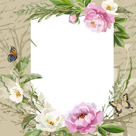 Vintage card with flowers, butterflies and decorative herbs.. Greeting card template with flowers. Vector illustration. Illustration