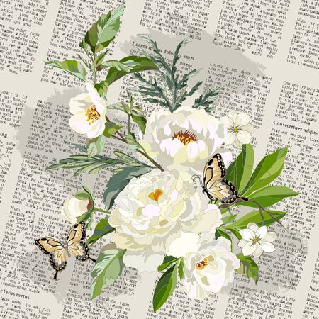 Decorative background with white peonies, grass and old newspaper. Greeting card with flowers. Vector illustration.