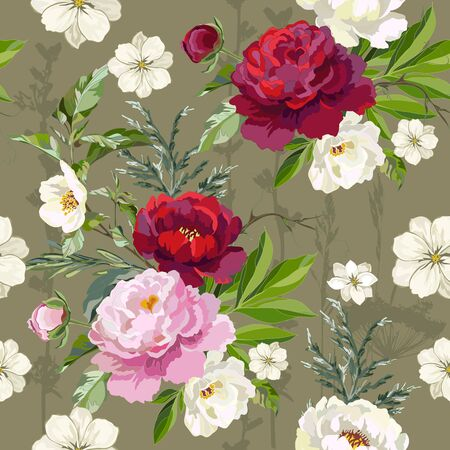 Seamless pattern with red, pink peonies and jasmine sprigs. Vector illustration.