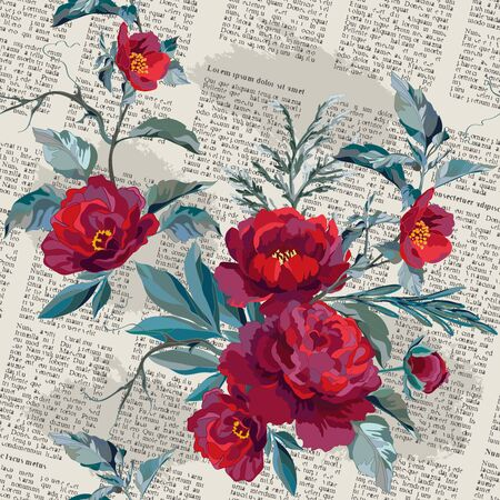Seamless pattern with dark red flowers on background of an old newspaper. Bouquet with red peonies and grass. Vector illustration.