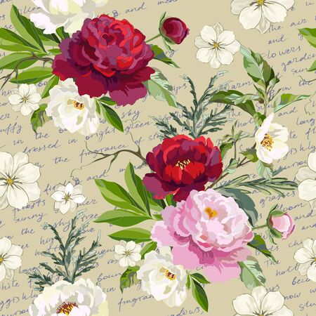 Seamless floral pattern with peonies and decorative herbs on the background of the letter. Vector illustration. Illustration