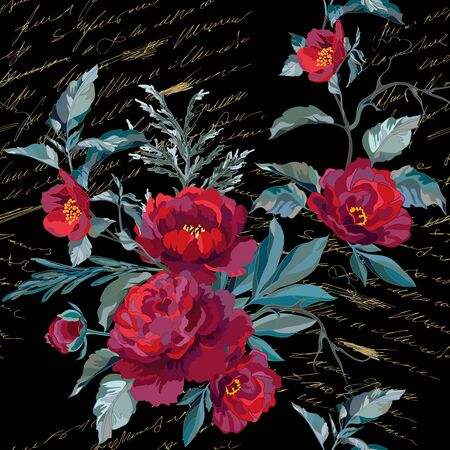 Seamless pattern with dark red peonies and a golden lettering on a black background. Vector illustration.