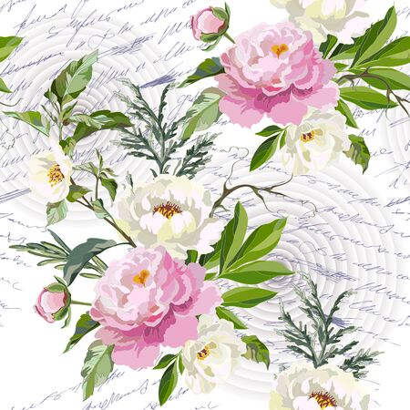 Seamless floral pattern with flowers. White and pink peonies with grass on a letter background. Vector illustration.
