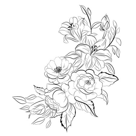 Figure black lines on a white background. Freehand drawing of the bouquet of flowers. Coloring page with flowers. Vector illustration.