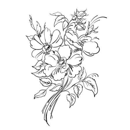 Freehand drawing of the bouquet of flowers in the vintage style. Figure black lines on a white background.  Vector illustration.
