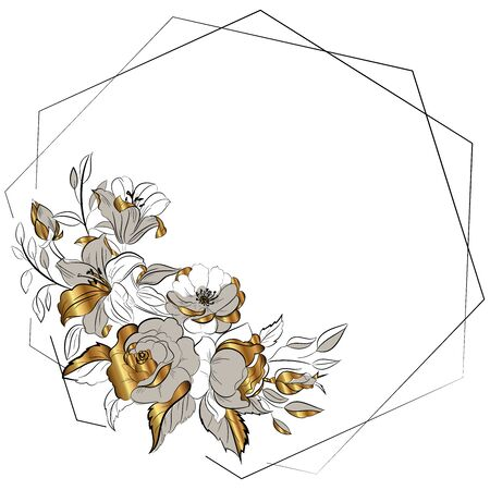 Sketch with golden flowers. Figure black lines on a white background. Freehand drawing of the bouquet of flowers. Vector illustration. Illustration