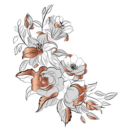 Bouquet of flowers drawn ink and rose gold. Figure black lines on a white background. Freehand drawing of the bouquet of flowers. Vector illustration.