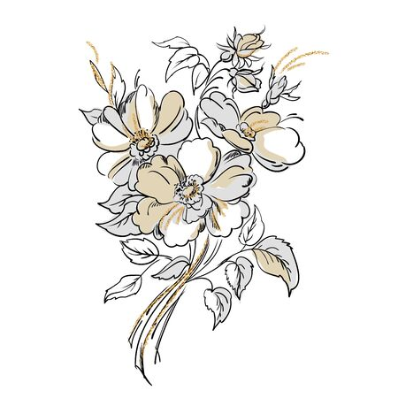 Drawing of the bouquet of flowers in the vintage style. Vector illustration.