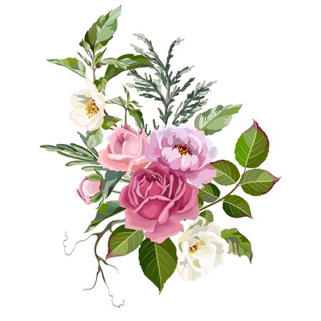 Bouquet of pink peonies and roses with grass on a white background. Greeting card template with flowers. Vector illustration.