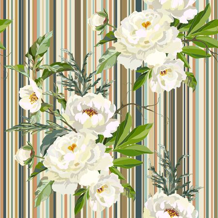 Seamless floral pattern with white peonies and striped background. Vector illustration.
