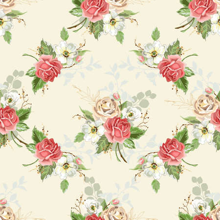 Seamless floral background. Pattern with roses. Vector illustration. Vettoriali