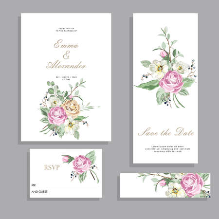 Set wedding cards. Templates with pink roses flowers, grass and twigs. Vector illustration in vintage style, frames for design.