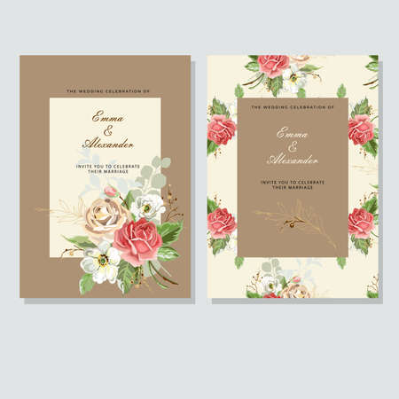 Wedding invitation card with roses frame template. Greeting cards with roses in vintage style on craft paper. Vector illustration