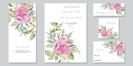 Greeting cards with pink roses. Floral Wedding Invitation card, save the date, thank you and rsvp template. Vector roses and greenery plants.