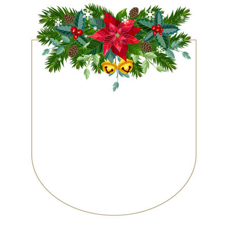 Christmas frame with fir branches, spruce cones and the poinsettia flower. Vector illustration. Ilustração