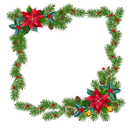 Square Christmas frame from fir branches and decorations. Vector illustration.