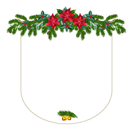 Christmas frame from fir branches, bells and the poinsettia flowers. Vector illustration.
