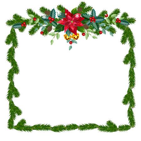 Christmas frame from fir branches, bells and decorations. Vector illustration. Ilustração