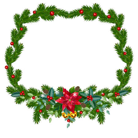 Christmas frame from fir branches and decorations. Vector illustration.