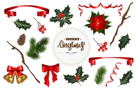 Set of fir tree, holly, berries bells, ribbons. Design element collection for Christmas decoration. Vector illustration Ilustração