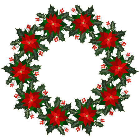 Christmas wreath with poinsettia flowers, holly and berries. Design element for Christmas decoration. Vector illustration