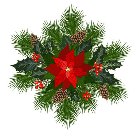 Christmas decorations with poinsettia, fir tree, pine cones, holly, berries and decorative elements. Design element for Christmas. Vector illustration Ilustração