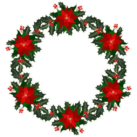 Christmas decorations with poinsettia flowers, holly and berries. Wreath for Christmas decoration. Vector illustration