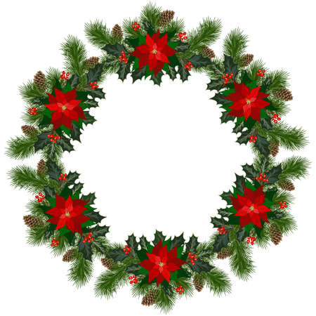 Christmas wreath with fir tree, holly, berries and decorative elements. Design element for Christmas decoration. Vector illustration