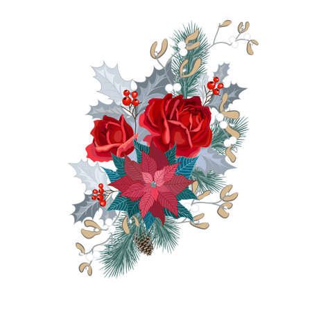Christmas bouquet with roses, poinsettia, holly, fir branches and mistletoe. Vector illustration