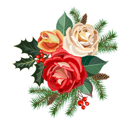 Christmas garland of roses flowers, fir branches and decorative greenery, vector illustration. Illustration