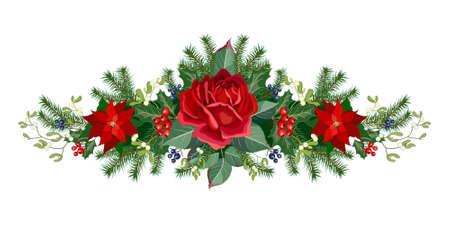 Christmas garland of roses flowers, fir branches and decorative greenery, vector illustration. Stock Photo