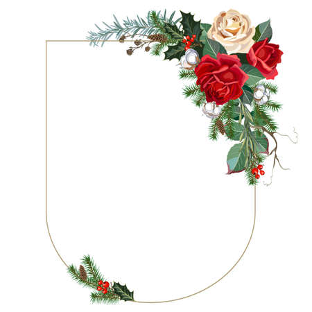 Christmas frame decorated with roses flowers, holly, fir branches and decorative greens. Vector illustration Illustration