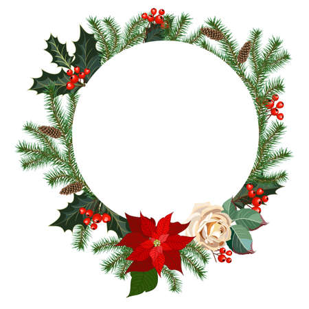 Christmas frame decorated with roses flowers, holly, fir branches and decorative greens. Vector illustration Standard-Bild