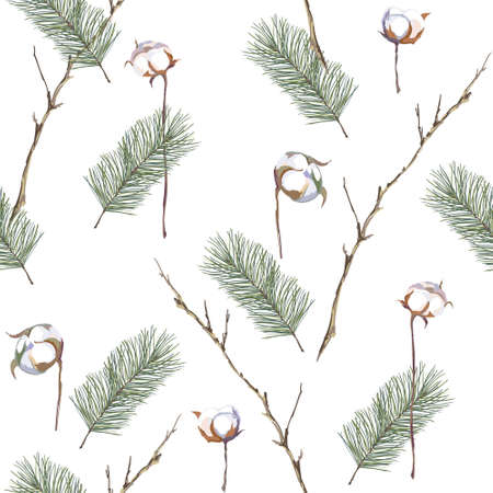 Christmas seamless pattern with fir and cotton branches. Vector illustration. Illustration