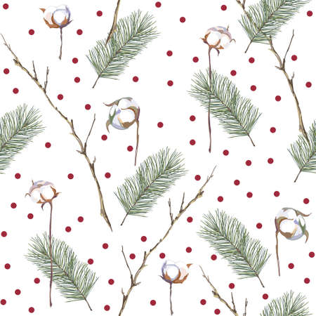 Vector seamless pattern with spruce branches and cotton. Christmas decorative background.