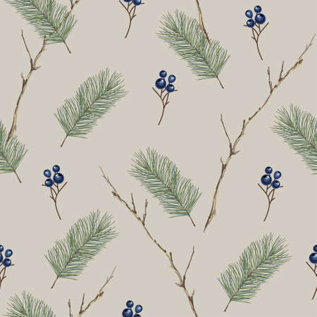 Christmas seamless pattern with fir branches and blue berries. Vector illustration.