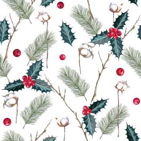Christmas seamless pattern with fir, red berries and cotton branches. Vector illustration.