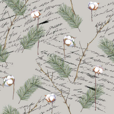 Christmas seamless pattern with handwritten lettering, fir and cotton branches. Vector illustration.