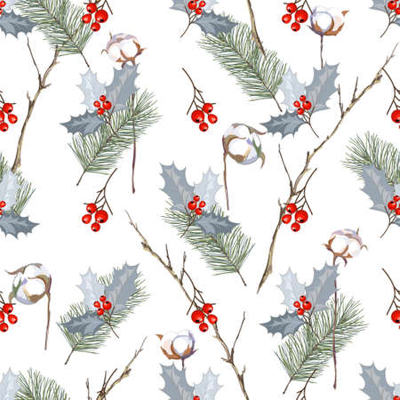 Seamless pattern with berries, cotton balls, spruce and branches. Background for your design. Vector illustration.