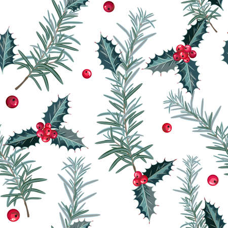 Christmas seamless pattern with holly and berries. Vector illustration.