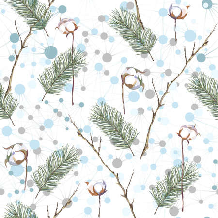 Christmas seamless pattern with blue balls, fir and cotton branches. Vector illustration. Illustration