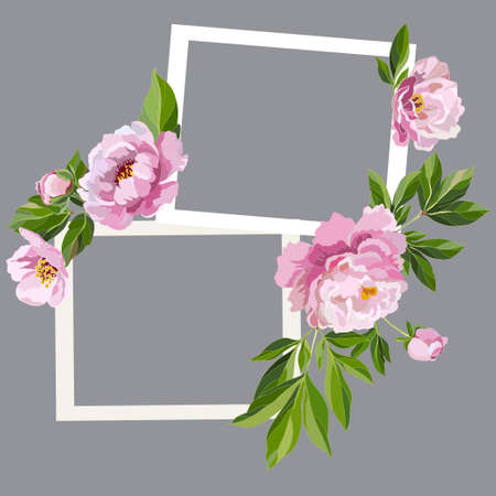 Two decorative frames with pink peonies and leaves on a gray background. Vector illustration. Illustration