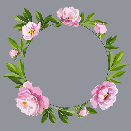 Round decorative frame with flowers around on a gray background. Peonies with green leaves. Vector illustration