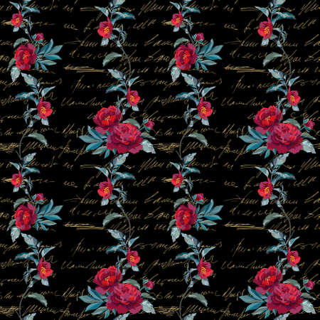 Seamless floral pattern with a red peonies and decorative leaves on a black background. Vector illustration. Illustration