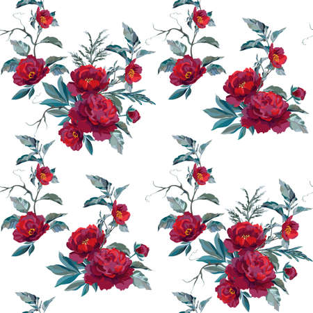 Vector material swatch with dark peonies, blue leaves and decorative branches. Vector illustration.