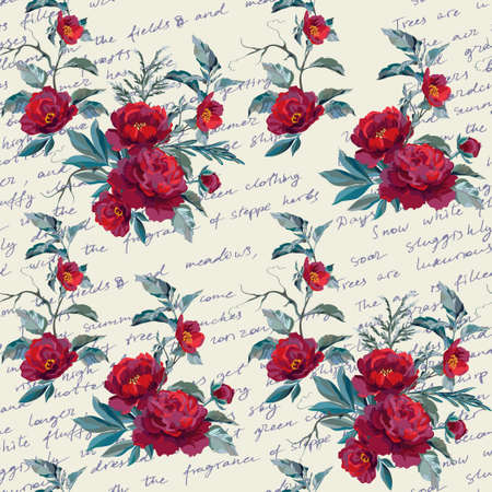 Sample of the textile pattern with flowers on the backdrop with letterings. Vector illustration.