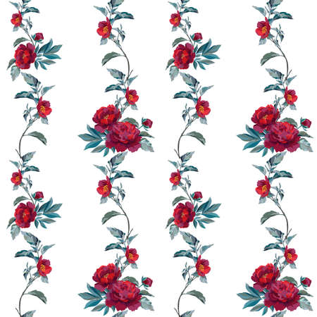 Fabric template with dark flowers and leaves. Vector illustration. Illustration