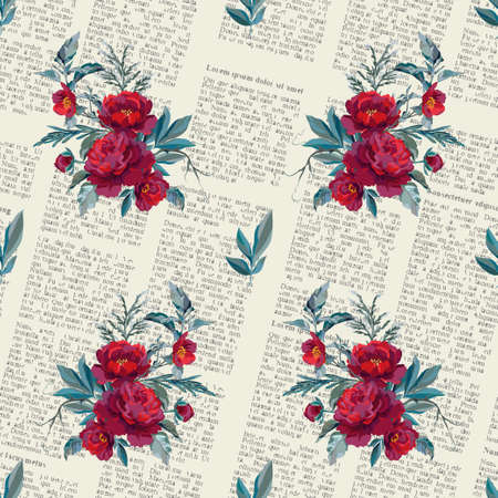 Seamless pattern with dark red flowers on background of an old newspaper. Vector illustration. Illustration